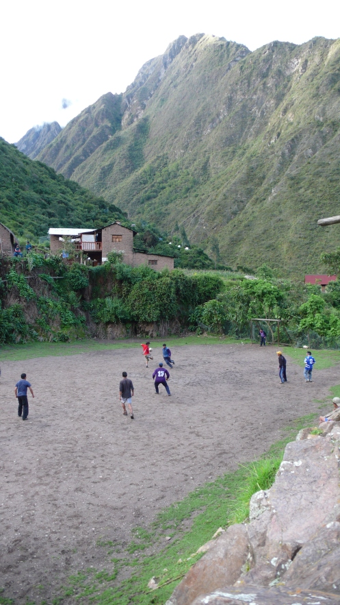 Soccer game at Wallyabamba. Peru...at 10,000 feet above sea level...on the Inca Trail Trek in 2010.