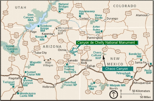 "Map of Northern New Mexico and Arizona: Chaco Canyon and Canyon de Chelly Country - Land of the  ""Ancient Ones""!"