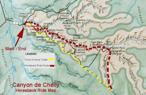 Route of the all-day horseback ride through Canyon de Chelly, a tough 19-mile adventure of a lifetime!