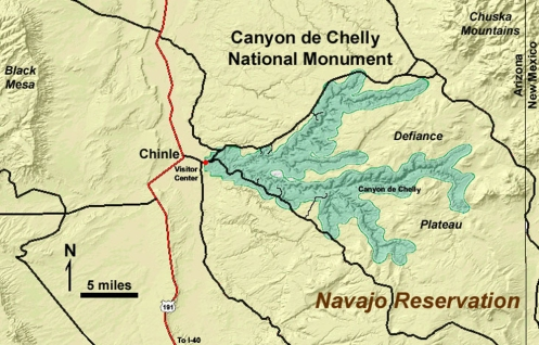 Canyon de Chelly Location Map