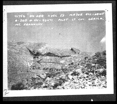 Crash Site photo from USAF Accident Report showing the burn scar across the flanks of Mount Franklin from the crash.