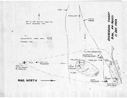 Hand drawn diagram used in the accident investigation, showing the wreckage dispersal across the steep flanks of Mount Franklin