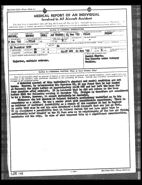 Medical Report from Accident Investigation of Aircraft Commander LTC Gerrick