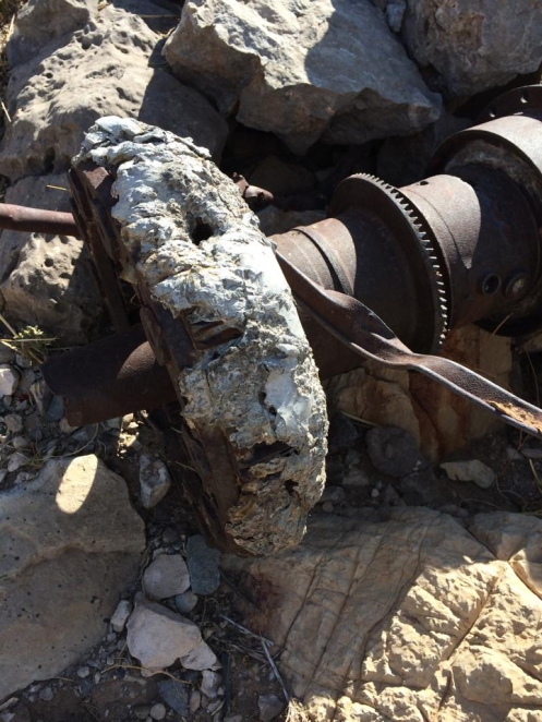 Melted aluminum covers the gears of one of the B-36 propeller shaft assemblies.