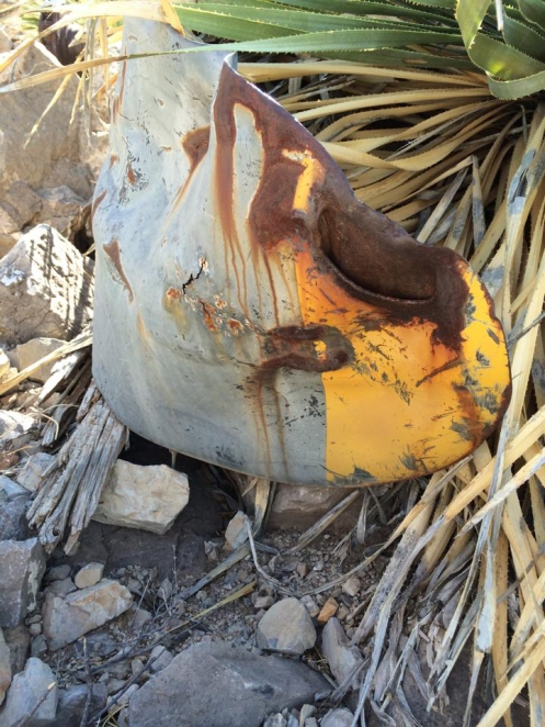 Yellow-painted tip of B-36 propeller in the left-hand canyon.