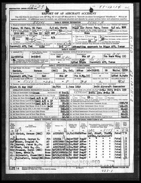 El Paso B-36 Crash Accident Report - Page 1