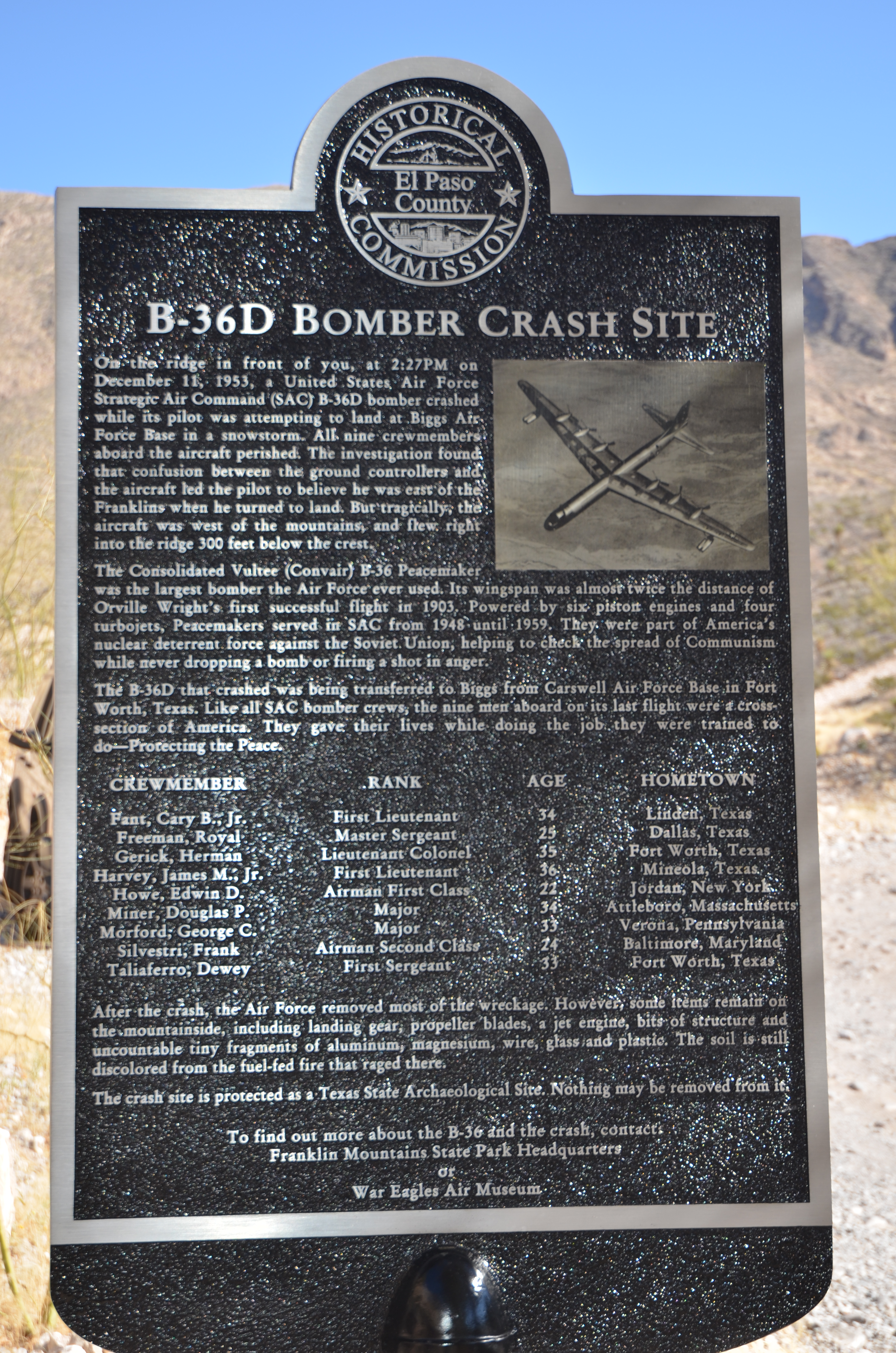 B 36 crash franklin mountains 1953 dave etzolds blog el paso county historical society marker dedicated to the el paso b 36d crash of aiddatafo Gallery
