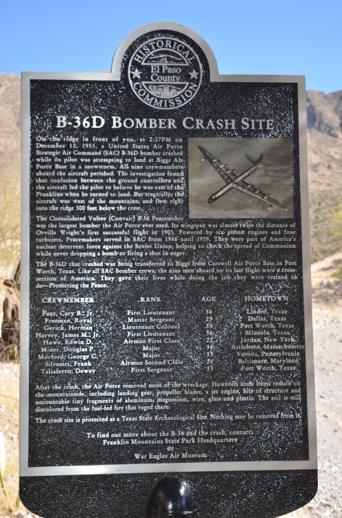 El Paso County Historical Society Marker dedicated to the El Paso B-36D Crash of December 11, 1953