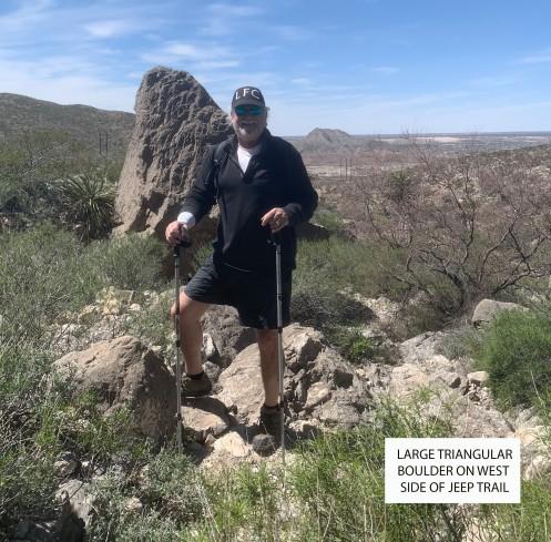 Large Boulder and David-standing label