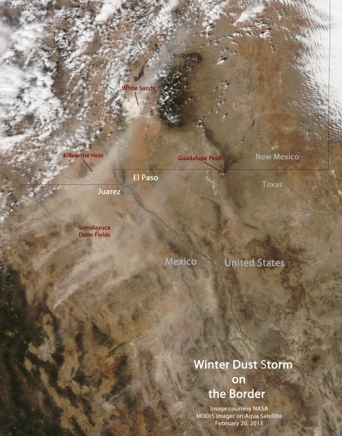 Winter Dust Storm on the Mexican Border from NASA Aqua satellite February 20, 2013