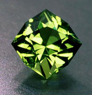 Peridot Gem cut from olivine found within a basalt
