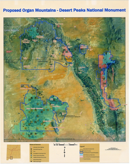 Map and Legend of the Organ Mountain Desert Peaks National Monument