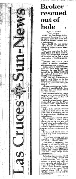 Las Cruces Sun-News, Sunday May 5 1991 account of