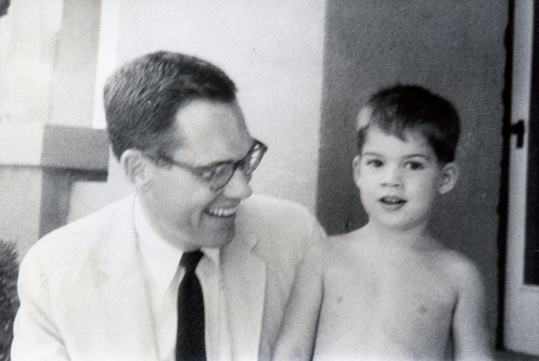 Father and son, on the front porch of our Cincinnati House c. 1960