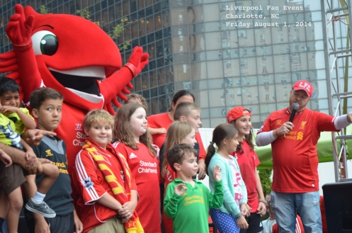 The Liverbird mascot meets some young fans as the party gets started in Charlotte