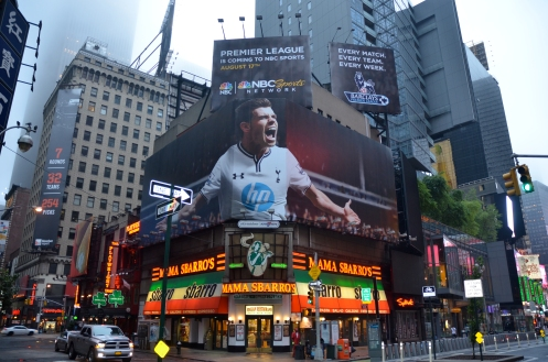 Gareth Bale -on a Times Square billboard-helps promote NBC sports coverage of the Barclays Premiere League 2013-2104