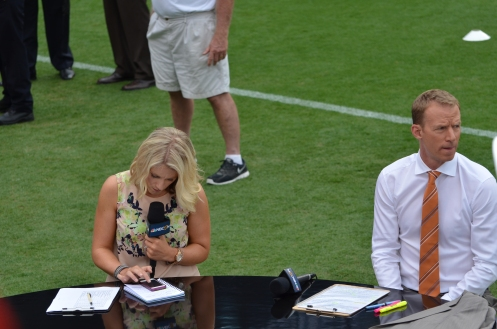 Rebecca Lowe and Robbie Mustoe at the anchor desk for the pre-game commentary, Liverpool vs. AC Milan, Charlotte