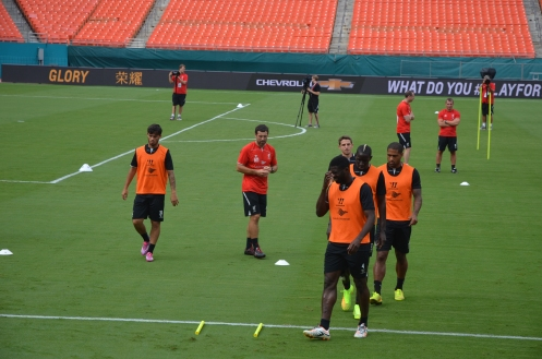 Loverpool FC team at practice in Miami before their Final match against Manchester United in the Guinness International Champions Cup 2014