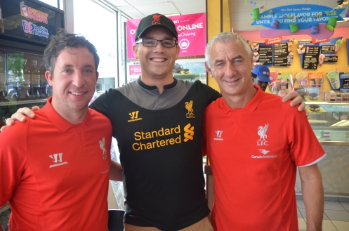 Joseph Perry with Ian Rush and Robbie Fowler at Dunkin Donuts, Miami on 3 August 2014