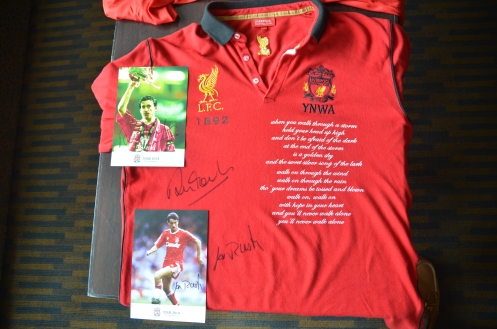 David Etzold's Liverpool FC fan shirt autographed by Ian Rush and Robbie Fowler
