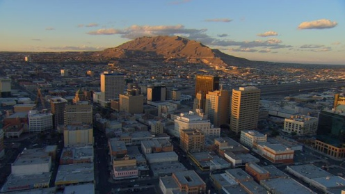 The Franklin Mountains, looking north from Downtown El Paso and the Mexican Border at the Rio Grande, where El Paso, Texas and Juarez, Mexico share a valley and a 400-year history.