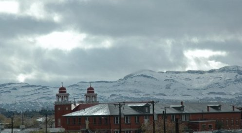 Winter storm covers the Juarez Mountains south of Downtown El Paso