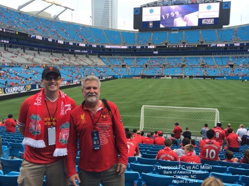 Joseph Perry (L) and David Etzold (R) with great seats for the AC Milan game!
