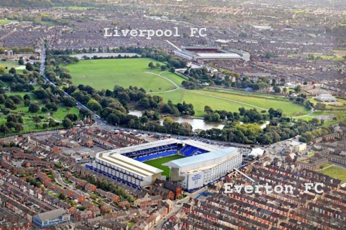 The close proximity of rival clubs across Stanley Park in Liverpool