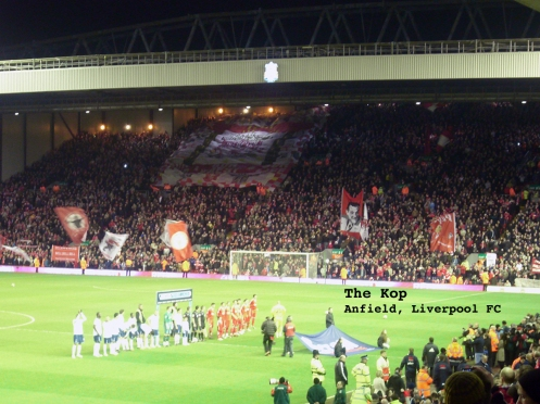 Anfield, Liverpool FC home ground, with the Kop in full voice and motion before the start of a game.