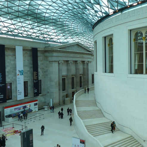 Snow accumulates on the huge skylight at the center of the British Museum